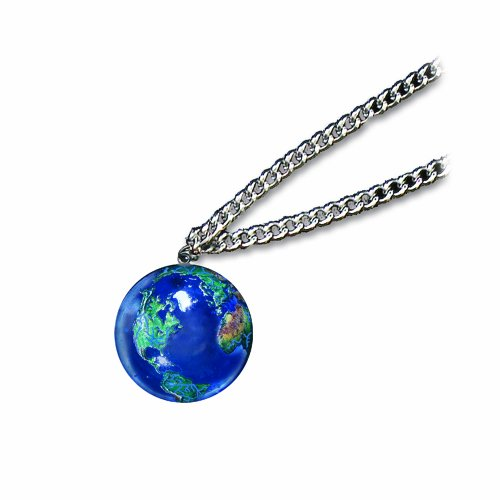 Pendant, Blue Earth Marble, Natural Earth Continents, Endless Stainless Steel Chain, 1 Inch -