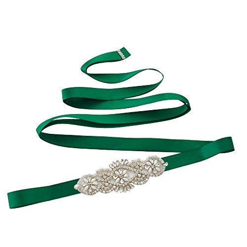 Vestito Cinghia Fusciacca Sposa Scuro Del S76 Delle Cintura Ulapan Ghigliottina Da Sposa Da Verde Cristalli Donne Perle 5CqpPqRx