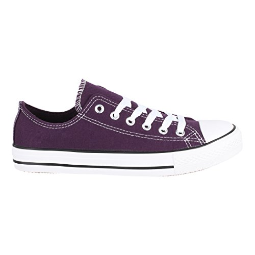 Elara Unisex Purple 46 Eine Damen Turnschuh Sneaker Basic Sportschuhe Textil Nummer 36 Top Größer Bequeme für Herren Low Schuhe Aus und Fällt rrCdZxwqn6