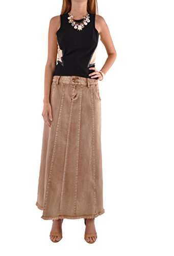 Style J Flawless Beauty Long Denim Skirt-Brown-34(14)