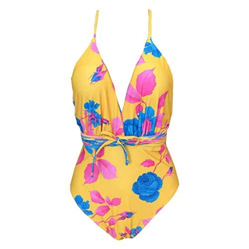 Block China Garden Rose (XUEJIN Vintage One Piece Tummy Control Swimsuit Retro Strap Floral Print Bikini Tankini Set Swimwear Bathing Suits)