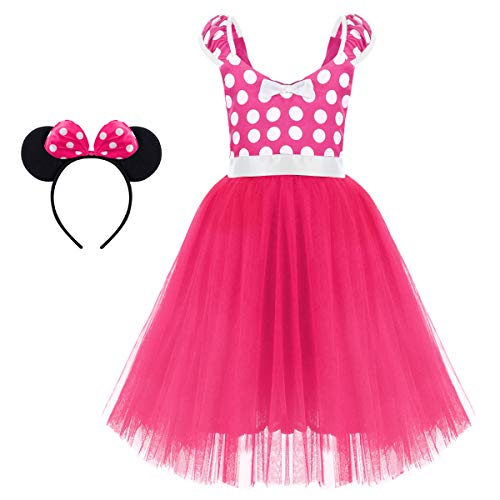 Minnie Costume for Toddler Little Girl Tutu Skirt Mouse Ear Headband Polka Dot First Birthday Halloween Costume Princess Outfits X# Hot Pink Long Dress+Headband 5-6 Years