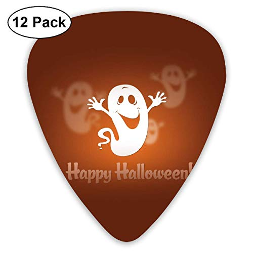 Hallome Funny Halloween Happy Ghost Guitar Pick 0.46mm 0.73mm 0.96mm 12pack,Suitable for All Kinds of Guitars