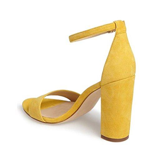 Fsj Women Classico Grosso Sandalo Tacco Alto Punta Aperta Cinturino Alla Caviglia Fascia Singola Abito Scarpe Taglia 4-15 Us Giallo