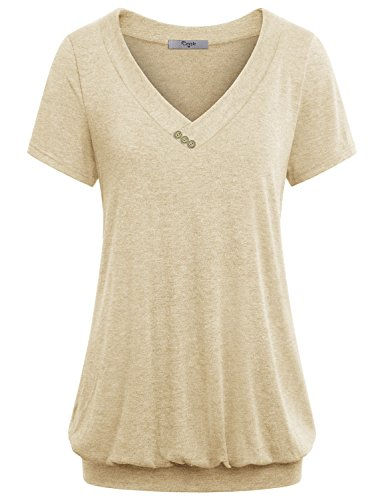 Cestyle Knit Tops for Women, Ladies V Neck Short Sleeve Banded Hem Thin Stentchy T Shirts Tunic Blouses Cream Beige XX-Large