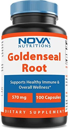 Nova Nutritions Goldenseal Root 570mg Non-GMO Capsules, Promotes Healthy Immune Overall Wellness, 100 Count