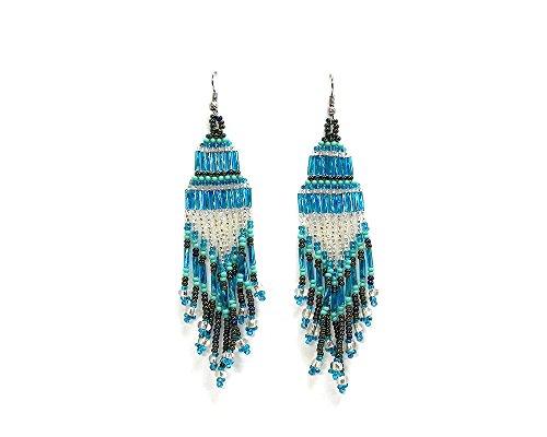 Blue Czech Glass Earrings - Seed Bead Chandelier Extra Long Dangle Earrings (Light-Blue/Silver)