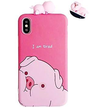 online store cbfae e3528 Amazon.com: Pink Piggy Phone Case, Anya 3D Silicone Cute Pig Bowknot ...