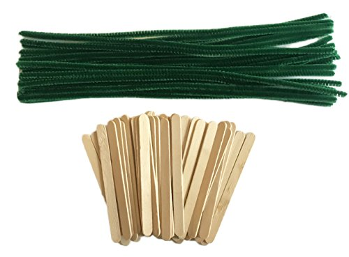 Crafting Bundle of 25 Green Chenille Stems Crafting Pipe Cleaners and 50 Wood Craft Sticks
