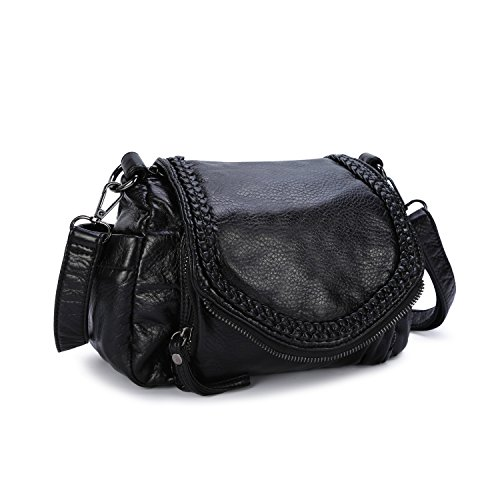 Cross Body Flap Bag (Women's Leather Shoulder Crossbody Purse Girl Casual Travel Satchel Bag with Flap Black)