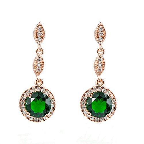 Junxin Jewelry Emerald Diamond Earrings for women 10KT Rose Gold