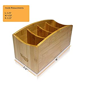 Natural Bamboo Caddy | Living Room Remote Control Organizer | Home Office Desk Storage | Nightstand Bin | Kitchen Accessory Holder | Utensil Compartments | Daily Supplies Divider | by SplashSoup