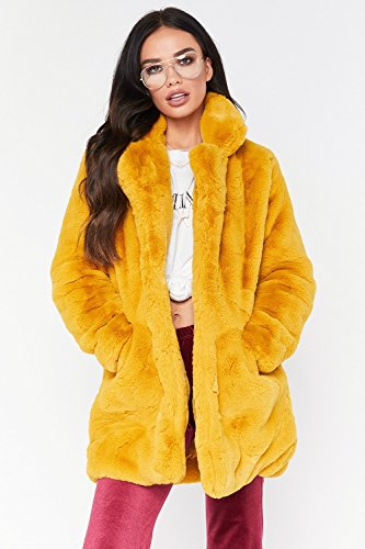 (Rvxigzvi Womens Faux Fur Coat Plus Size Parka Jacket Long Trench Winter Warm Thick Outerwear Overcoat XS-4XL (Yellow-, US S/4-6))