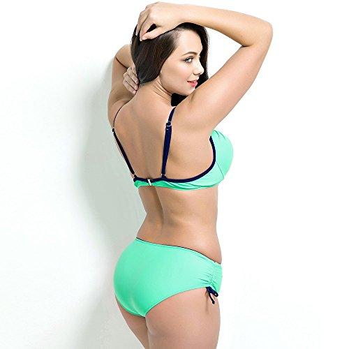 Runbox Women's Plus Size Pleated Push up Two-piece Swimsuit Swimwear Bikini Set (L(US12-14), Light Blue)