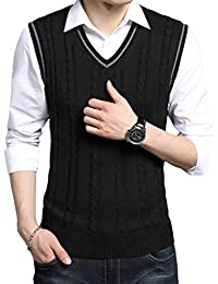 Men's V-Neck Pullover Vest Casual Sleeveless Knitted Slim Fit Sweater Vest