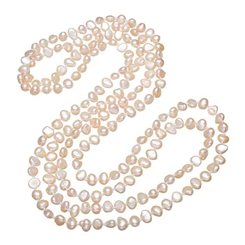 (Bnialaed Luxury Natural Pink Pearl Beaded Long Strand 3-Rows Multi Layer Necklaces Freshwater Pearl Sweater Chain Necklace Woman)