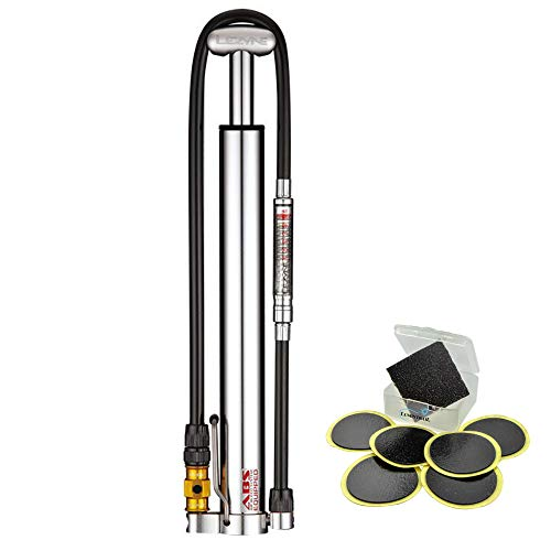 LEZYNE Micro Floor Drive HVG Bike Pump 90 PSI - Presta and Schrader Compatible (Silver) Bundle with a Lumintrail Glueless Puncture Patch Kit
