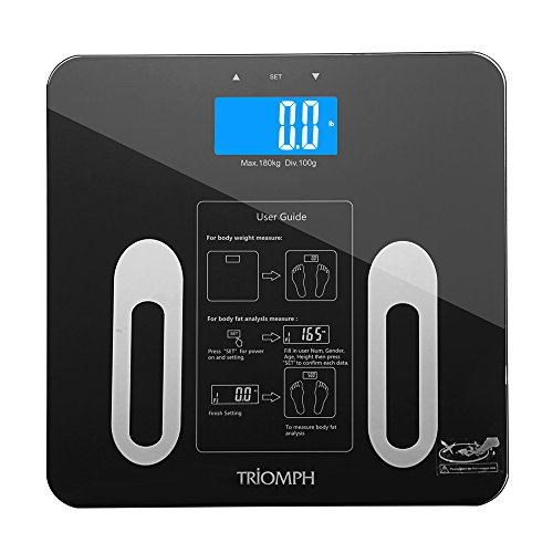 Triomph Digital Bmi Body Fat Scale With Step On Technology  10 User Recognition  400 Lb  Capacity  Black