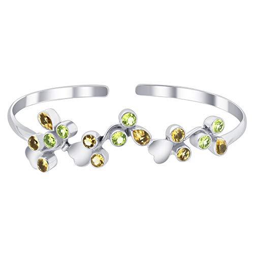 Gem Avenue 925 Sterling Silver Floral Bali Design Cuff Bracelet with Genuine Citrine and Peridot