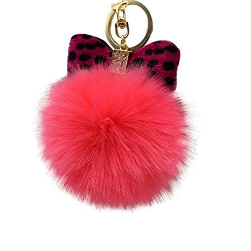 Iuhan Fashion Fluffy Faux Rabbit Fur Ball Bowknot Charm Car Keychain Handbag Key Ring (L) ()