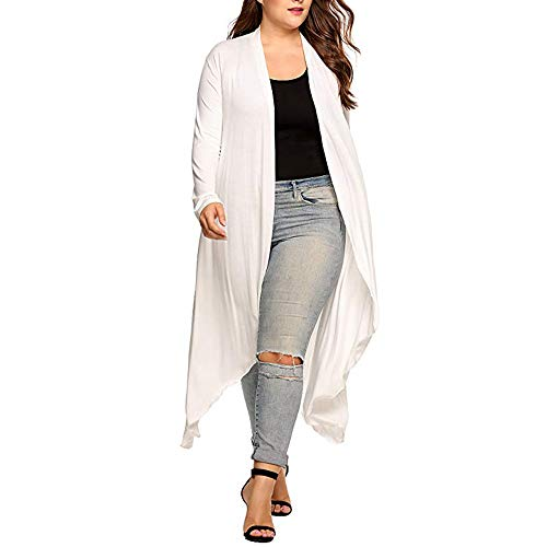 Ninasill Clearance!Women Plus Size Cardigan Long Sleeve Asymmetric Drape Long Cardigan(White,Asian XXXL = US ()