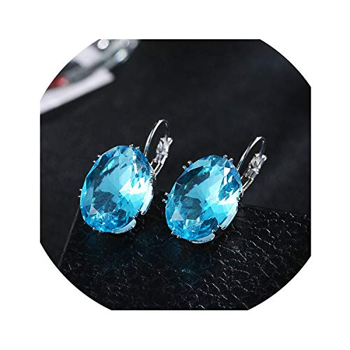 (Silver Crystal Cubic Zircon Big Stone Drop Earrings for Women Fashion Party Jewelry Valentines Day Gift,light blue)