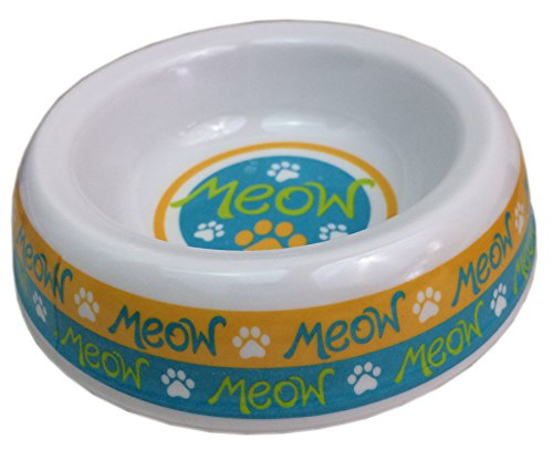 Kitty Meows (Melamine Cat Bowls with Cute Kitty Designs (Orange and Blue ~ Meow))