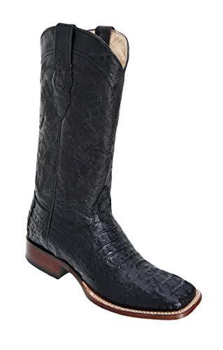 Genuine CROCODILE HORNBACK BLACK WIDE SQUARE Toe Los Altos Men's Western Cowboy Boot 8220205