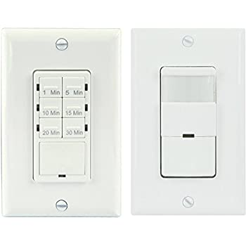TOPGREENER Bathroom Fan Timer Switch And Light Sensor Control30 Minute Preset