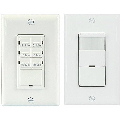 TOPGREENER Bathroom Fan Timer Switch and Light Sensor Switch Control30 Minute Timer Preset - Occupancy Sensor PIR Wall Switch TDOS5-HET06A Single Pole 180° ...  sc 1 st  Amazon.com & 30 Minute Timer Light Switches: Amazon.com