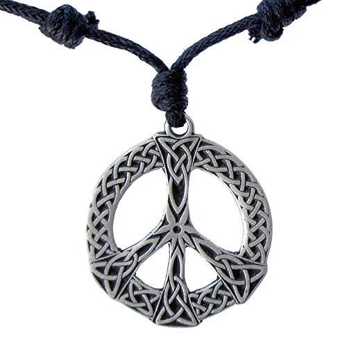 OhDeal4U Celtic Peace Sign Hippie Silver Pewter Pendant Charm Amulet Necklace (Black Adjustable -