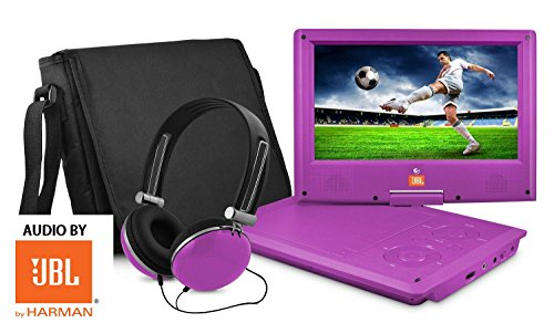 Ematic 9'' inch AUDIO BY JBL Purple Portable DVD Player with Matching Headphones and Bag AUDIO BY JBL