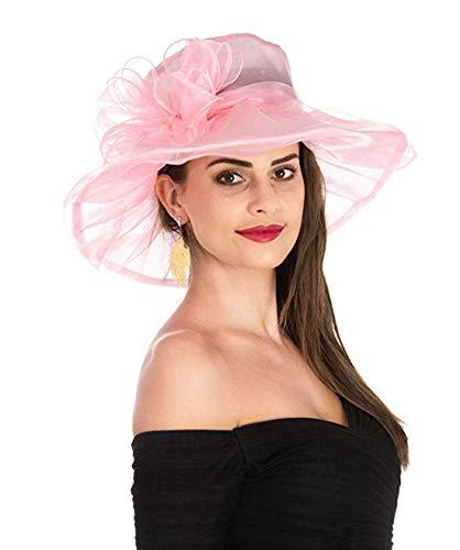 (Young_Me Women's Organza Church Wide Brim Tea Party Wedding Hat Derby Fascinator Cap Kentucky Wedding Hat (Pink))