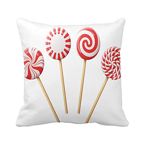 (Awowee Throw Pillow Cover Christmas Candy on Wooden Stick Striped Peppermint Lollipops 18x18 Inches Pillowcase Home Decorative Square Pillow Case Cushion Cover)