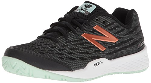 New Balance Women's 896v2 Tennis Shoe, Black/Seafoam, 9.5 D US