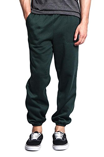 Fleece T-shirt Sweatpants - G-Style USA Men's Elastic Cuff Fleece Sweatpants - HILLSP - DARK GREEN - 3X-Large - GG1H
