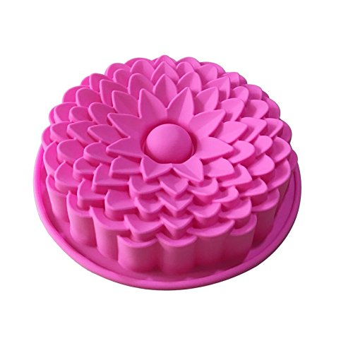 "Allforhome (TM) 8.07"" Chrysanthemum Flower Cake Baking Pans Baking Tray Flexible BIRTHDAY Cake Mold silicone molds Bakeware"