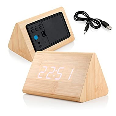 GEARONIC TM Modern Triangle Wood LED Wooden Alarm Digital Desk Clock Thermometer Classical Timer Calendar Updated 2016 Brighter LED - Bamboo (White Light)