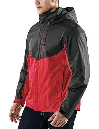 TSLA Men's Outdoor Raincoat Watertight Water Proof Gear Rain Defender Packable Jacket, Rainjacket 2layer(met23) - Charcoal & Red, Medium