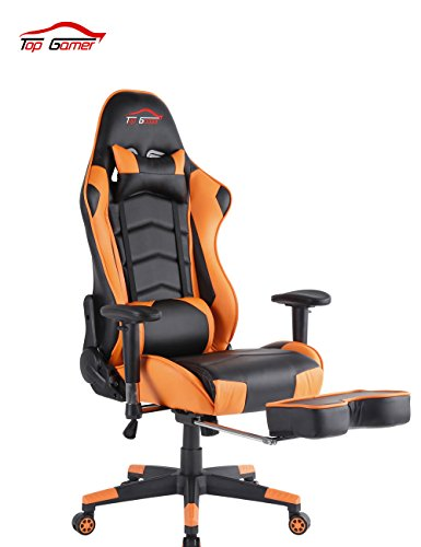 Top Gamer Gaming Chair High Back PC Computer Game Chair Office Chairs for Video Game (Orange)