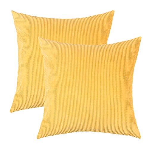 U-LOVE Pack of 2 Throw Pillow Covers Solid Supersoft Corduroy Corn Striped Cushion Cases 18 X 18 Inches for Couch Sofa Bed (Yellow)