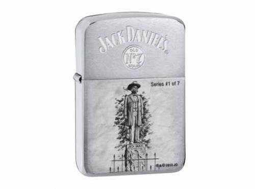 Zippo Brushed Chrome Silver 1941 Statue of Jack Daniel for sale  Delivered anywhere in USA