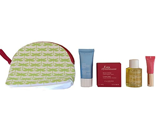 Clarins Gift Set & Travel Pouch - Tonic Body Treatment Oil, HydraQuench Cream, Eau Dynamisante Cream Soap, Instant Light Lip Perfector & Pouch