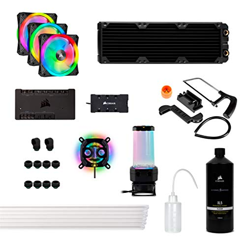 Corsair Hydro X Series XH305i Hardline Water Cooling Kit with/incl XC7 CPU Water Block, XR5 360mm Radiator, XD5 Pump Res and iCUE QL120 RGB Fans