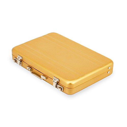 Stylish Mini Suitcase Aluminum Business Card Holder Name Card Holder Case, Product material 0.6mm Aluminum (Gold)