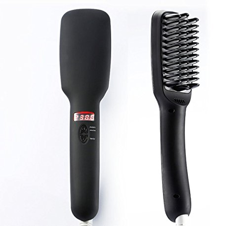 Amazon.com : Professional Hair Straightener Brush with Digital Anti Scald Anion Massage and Electronic Temperature LCD Display Hair Straightning Brush : ...