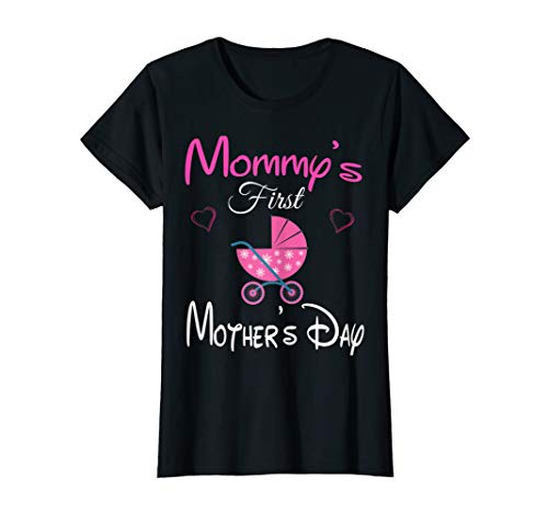 Womens Funny Mommy's first mother's day pink stroller & Heart Mom T-Shirt