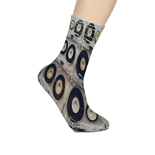 (90s Soft Mid Calf Length Socks,Picture of Six Audio Cassettes for Recorder Retro Style Vintage Old Time Popular Technology Socks for Men Women)