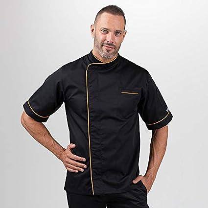 Veste de cuisine noire liseré long orange: Amazon.fr ...
