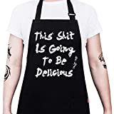 ALIPOBO BBQ Funny Apron for Men, Chef Bib Apron with 2 Pockets, Adjustable Neck Strap and 40' Long Ties - Best for Kitchen Cooking, Grilling, Baking, Gardening - Black